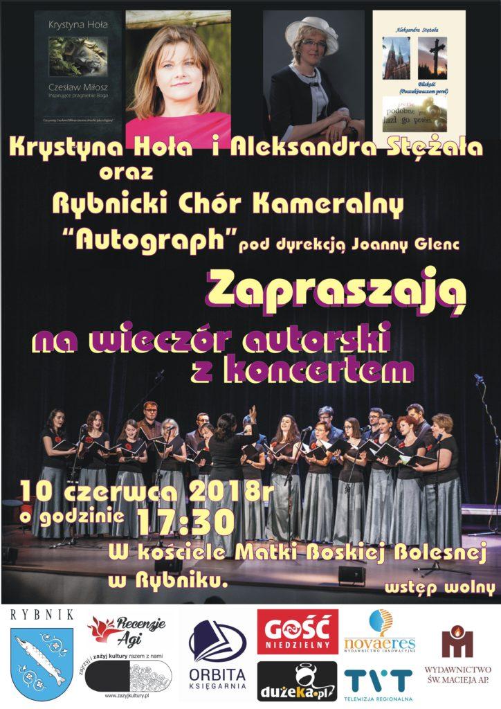 Plakat wieczoru autorskiego z koncertem